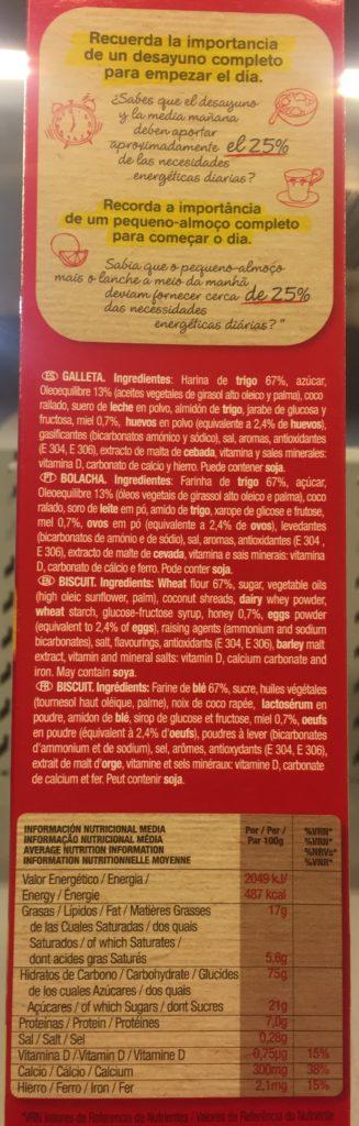 tabla nutricional de galletas chiquilin